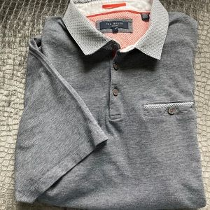 Ted Baker gray polo with contrasting collar